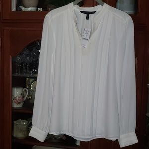White Pleated Sheer Office Dress Blouse